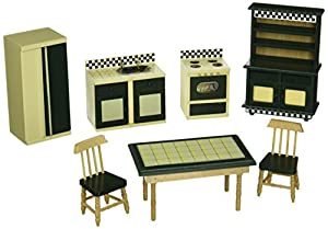 picture of Melissa & Doug Classic Wooden Dollhouse Kitchen Furniture (7 pcs) - Buttery Yellow/Deep Green