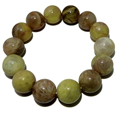 Satin Crystals Moonstone Medley Bracelet 14mm Boutique Earthy Yellow Peach Round Gemstone Handmade Stretch B02 (7.75)