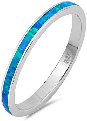 CHOOSE YOUR COLOR Sterling Silver Lab Created Opal Wraparound Ring (Size 4 - 10)