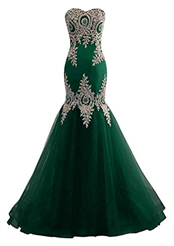 Sleeveless Dress Women Dark Embroidery for Satin Long Backless Mermaid Green With LiCheng Tulle Dresses Bridal Evening Formal Prom with Train xCwqAtXS