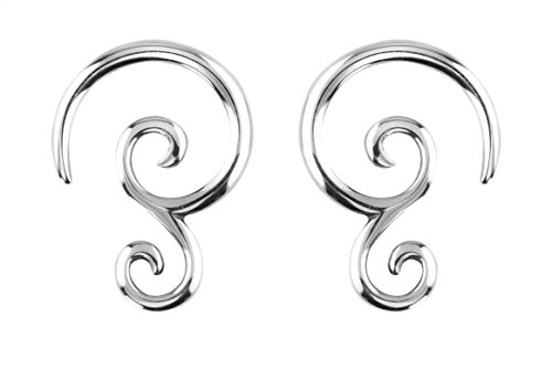 Forbidden Body Jewelry Pair of 10g (2.4mm) Surgical Steel Solid Tribal Design Taper Earrings ()