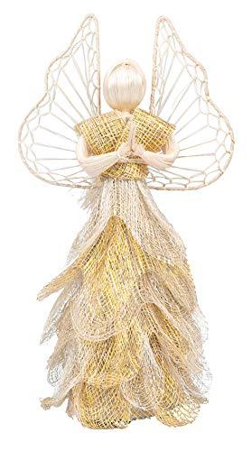Ten Thousand Villages Christmas Tree Topper Handmade Golden Sinamay Angel Keepsake (Handmade Golden Tree)