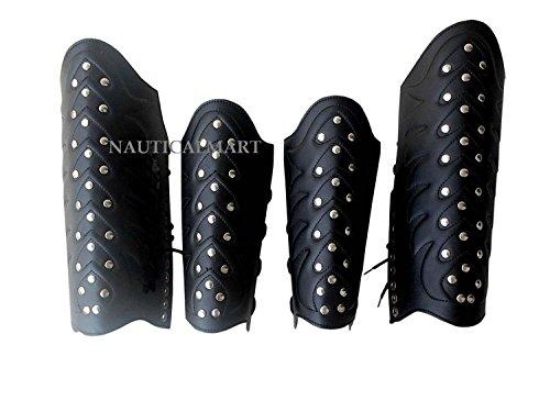 NAUTICALMART Leather Greek Armor Vambrace Collectible ARM Guard & Leg GURD Replica PRO