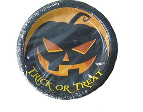 Halloween Trick-or-Treat Scary Glowing Pumpkin Paper Plates (18 - 9 In. Dinner/Luncheon Plates)