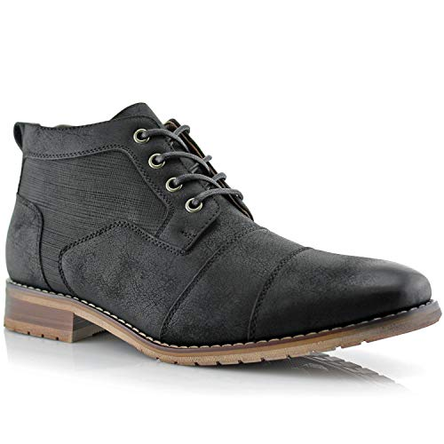 Ferro Aldo Blaine MFA806035 Mens Casual Brogue Mid-Top Lace-Up and Zipper Boots – Black, Size 13