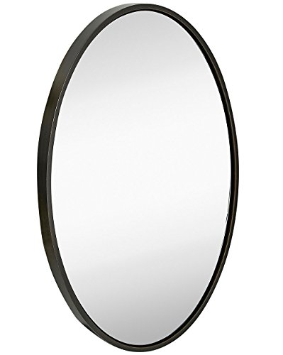 Clean Large Modern Wenge Oval Frame Wall Mirror | Contemporary Premium Silver Backed Floating Glass Panel | Vanity, Bedroom, or Bathroom | Hangs Horizontal or - Oval Silver Frame