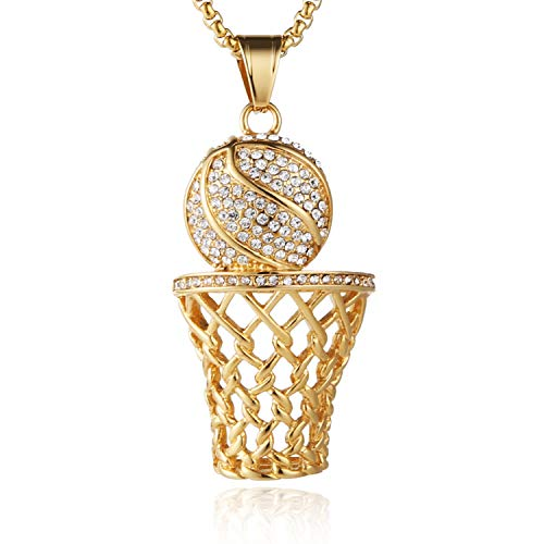 HZMAN Mens 18k Gold Silver Plated Basketball Rim CZ Inlay Pendant Hip Hop 24 Inches Chain ()