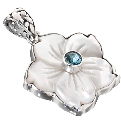 White Mother of Pearl Flower Shell Blue Topaz 925 Sterling Silver Pendant, 1 7/16