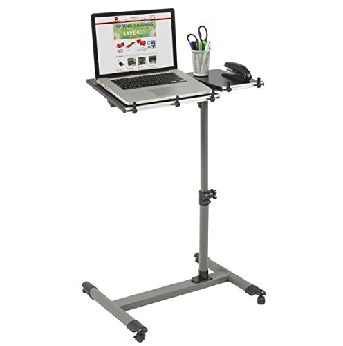 Modern Table Rolling Laptop Desk Stand with Tilting Tabletop Adjustable Height & Angle Cart Notebook Mobile Over Bed Desk TV Food Tray Hospital Computer PC Portable Bed Sofa Office Home Study