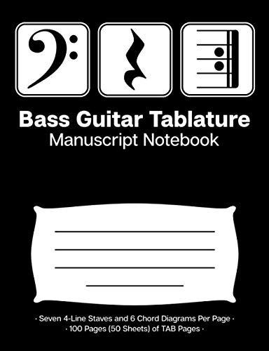 (Bass Guitar Tablature Manuscript Notebook: Blank Bass Guitar TAB Paper Notebook; Bass Clef Play Rest Repeat Cover Design in White on Black Background)