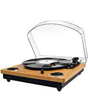 Popsky Record Player, Bluetooth Vinyl Turntable Record Player with THREE Speeds and Built-in 2 Stereo Speakers, Vinyl to MP3 Function, USB, RCA Output, Natural Wood