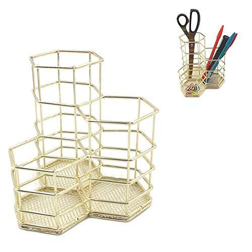 Womdee Gold Copper Wire Mesh Brush Pot Pen Holder |Metal Pen Pot |Hollow Multifunction Hexagon Makeup Brush Vase |Stationery Storage Organizer Container|Desk Decoration ()