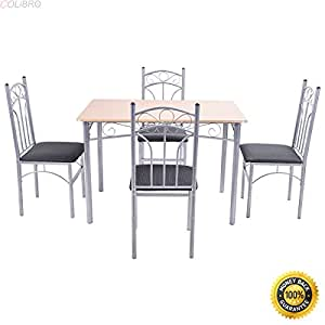 COLIBROX--5PCS Wood And Metal Dining Set Table and 4 Chairs Home Kitchen Modern Furniture,5 piece dining set,kitchen table and chairs set,Modern And Beautiful Dining Table& Chairs Set