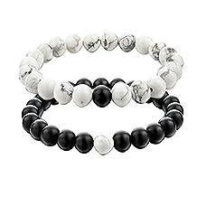 UEUC His and Hers Couple Yin Yang Bracelet Black Matte Agate 8mm Beads Bracelet (2pcs)