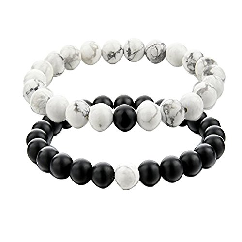 UEUC His and Hers Couple Yin Yang Bracelet Black Matte Agate & White Howlite 8mm Beads Bracelet (2pcs) by
