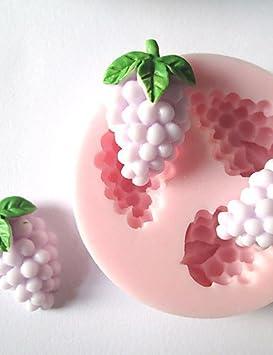 hjlhyl tres agujeros pequeños UVA frutas molde de silicona Fondant Moldes Azúcar Artesanía Herramientas molde para pasteles: Amazon.es: Hogar