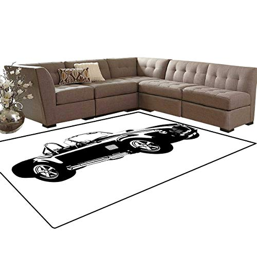 (Cars Kids Carpet Play-mat Rug Silhouette Classic Sport Car Ac Cobra Roadster American Antique Engine Autosport Room Home Bedroom Carpet Floor Mat 6'6