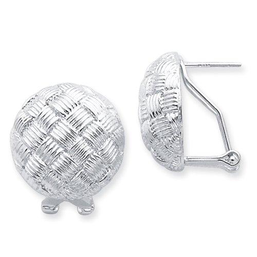 Basket Weave Button - Sterling Silver Basket Weave Button Earrings - 20mm