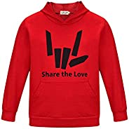 Thombase Share The Love Inspired Kids Children's Girls and Boys Pullover Hoodie with Po