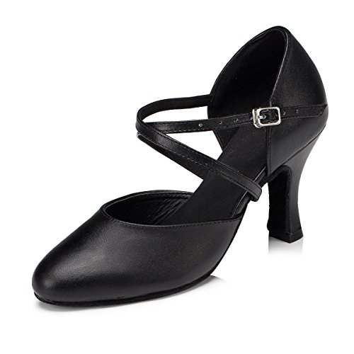 Leather Cross 5 Latin Dance UK Women's Black Ballroom Strap 5 Shoes Salsa MINITOO vTqWIx5wan