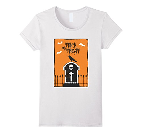 Womens Trick or Treat Raven Gravestone Bats T-Shirt Small White