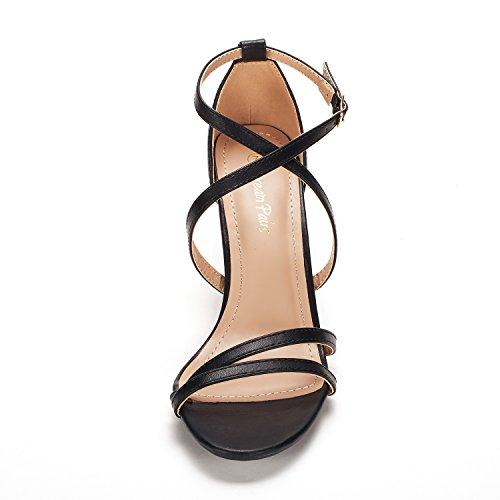 DREAM PAIRS Women's Gigi Black Pu Fashion Stilettos Open Toe Pump Heeled Sandals Size 8 B(M) US by DREAM PAIRS (Image #1)