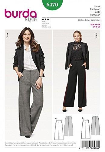 Amazon Burda Ladies Sewing Pattern 6470 Smart Wide Leg Trousers