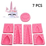 Unicorn Fondant Mold Set of 7 Unicorn Silicone Molds with Unicorn Horn Ears and Eyelashes for Cake Decorations