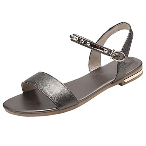 Summer Ankle Straps Flats for Work,QueenMM,Women's Elegant Classic Open Toe Comfort Beach Sandals for Party Brown -