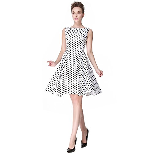 [Heroecol Womens Vintage 1950s Dresses Oblong Neck Sleeveless 50s 60s Style Retro Swing Cotton Dress Size M Color White With Black Polka] (1940s Dance Costumes)
