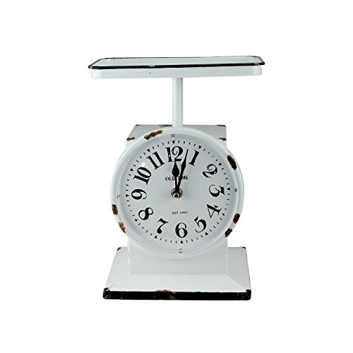 11.25″ White Retro Distressed Faux Rust Novelty Kitchen Scale Decorative Clock For Sale