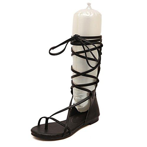 HnB Women Lace Up Flat Knee High Gladiator Sandal with Zipper (Black 38)