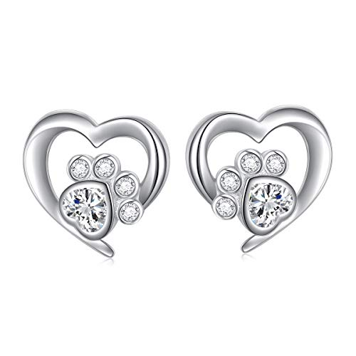 (925 Sterling Silver Cute Paw Print Heart Stud Earrings Gift for Women Teen Girls (Paw Stud))