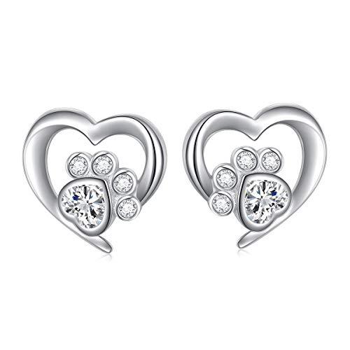 925 Sterling Silver Cute Paw Print Heart Stud Earrings Gift for Women Teen Girls (Paw Stud)