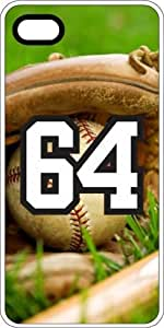 Baseball Sports Fan Player Number 64 White Rubber Decorative iPhone 5c Case