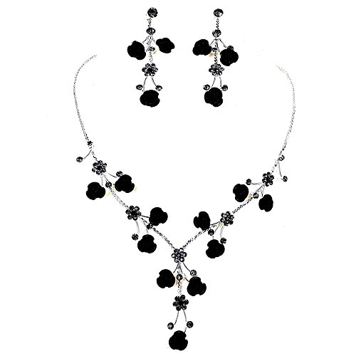 Faceted Metal Rose & Crystal Rhinestone Necklace & Earring set for Bridal, prom (Black) (Faceted Crystal Necklace Earrings)