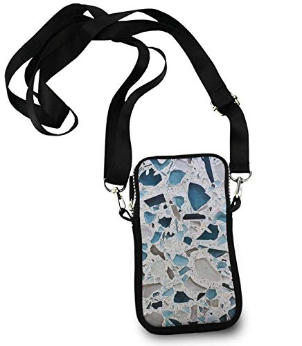 KYWYN Cellphone Case Pouch, Glass Countertops Marble, Small Phone Wallet Purse Shuldder Bag, Teen Girls Phone Holder Gift - Great for Gym Travel Hiking