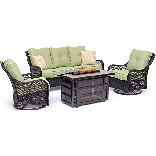 Hanover Orleans 4-Piece Outdoor Patio Conversation Set Liquid Propane Fire Pit Coffee Table Avocado Green Deep-Seating Sofa Swivel Gliders Natural Gas Adapter Burner Lid Fire Glass Electric Ignition