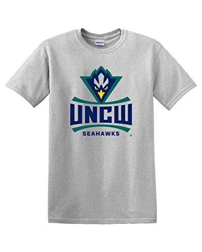 UNCW Ash Seahawks Full Logo Adult T-Shirt (Small) - University Ash Grey T-shirt
