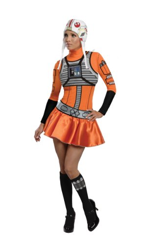 X Wing Star Wars Costume (Secret Wishes Star Wars Woman's  X-Wing Fighter, Orange/Black, Medium)