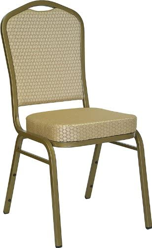 B001EJJV1K Flash Furniture HERCULES Series Crown Back Stacking Banquet Chair in Beige Patterned Fabric - Gold Frame 41EzgvMFgiL