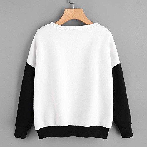 Felpa felpa Top LQQSTORE V maglione camicetta Big manica decorazione Pullover casuale moda a Donna lunga patchwork da girocollo scollo donna FTdTq6w