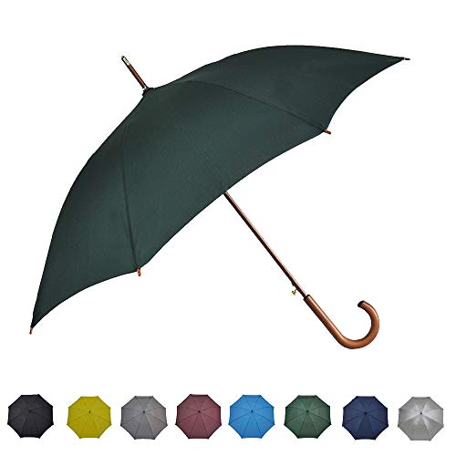 SoulRain Classic Stick Umbrella Windproof Auto Open Large Umbrella Wood Hook Handle Unbreakable Green Rain Umbrella ()