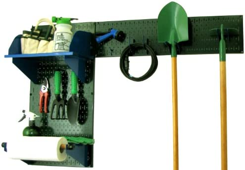 Wall Control Pegboard Garden Supplies Storage and Organization Garden Tool Organizer Kit with Green Pegboard and Blue Accessories