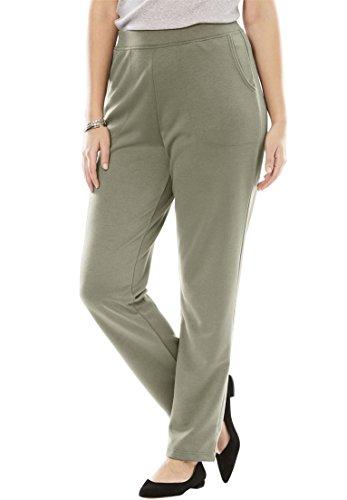 Women's Plus Size Petite Slim Fit Ponte Knit Pants Olive Grey,26 Wp (Pants Sleek Knit)