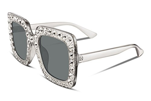 FEISEDY Women Sparkling Crystal Sunglasses Oversized Square Thick