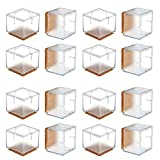 Wood Floor Protectors for Chairs Chair Leg Floor Protectors, WarmHut 16pcs Transparent Clear Silicone Table Furniture Leg Feet Tips Covers Caps, Felt Pads, Prevent Scratches, Wood Floor Protector (Square)