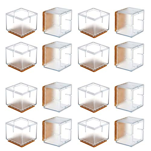 Chair Leg Floor Protectors, WarmHut 16pcs Transparent Clear Silicone Table Furniture Leg Feet Tips Covers Caps, Felt Pads, Prevent Scratches, Wood Floor Protector (Square) ()