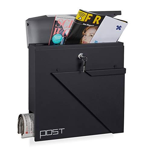 (Relaxdays Letterbox Newspaper Slot, Lockable DIN A4 Designer Mailbox, HxWxD: 37 x 37 x 13 cm,)