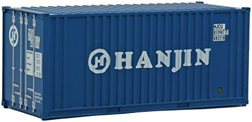 walthers-ho-scale-20-flat-panel-shipping-intermodal-container-hanjin-blue-by-walthers-cornerstone